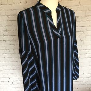 Isaac Mizrahi Striped Bell-Sleeved Shirtdress
